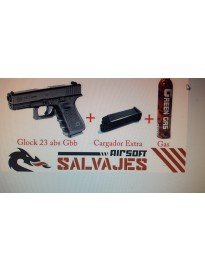 pack glock 23 kjw abs + cargador extra + bote gas
