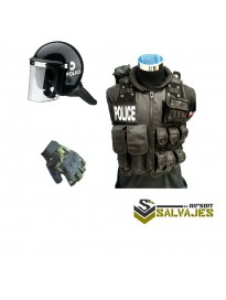 oferta PACK Casco antidisturbios+chaleco policia M BK(sin parche pequeño)+ guante medio dedo woodland