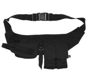 Cinturón con pouches y funda de pistola negra